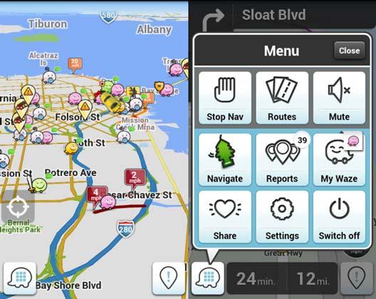 Navegador GPS Waze - Con reportes de usuarios en vivo