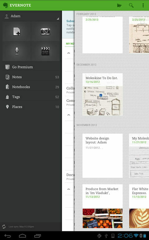 Captura de pantalla de Evernote