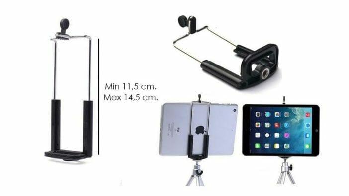 Accesorios baratos para grabar vídeo: Pinza para sujetar al trípode tablets medianas