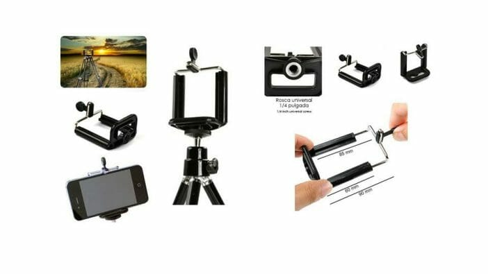 Accesorios baratos para grabar vídeo: Soporte o pinza para coger el móvil al trípode o un palo de selfie