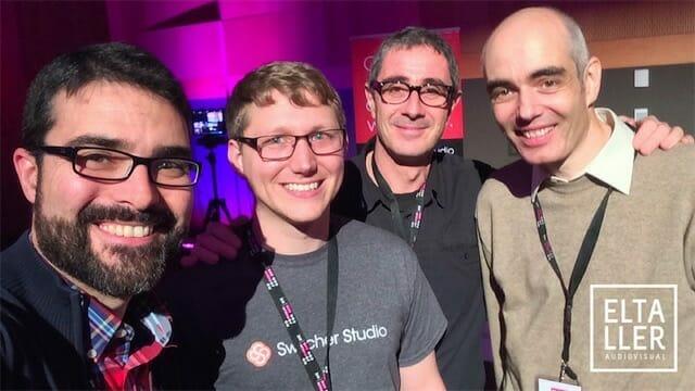 Nick Mattingly (Switcher Studio), Gabriele Mondada (Recolive Multicam) , con Óscar Oncina y Javier Cabrera (elTallerAudiovisual y YOS Contenidos)