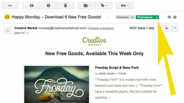 Quitar etiqueta promociones en Gmail